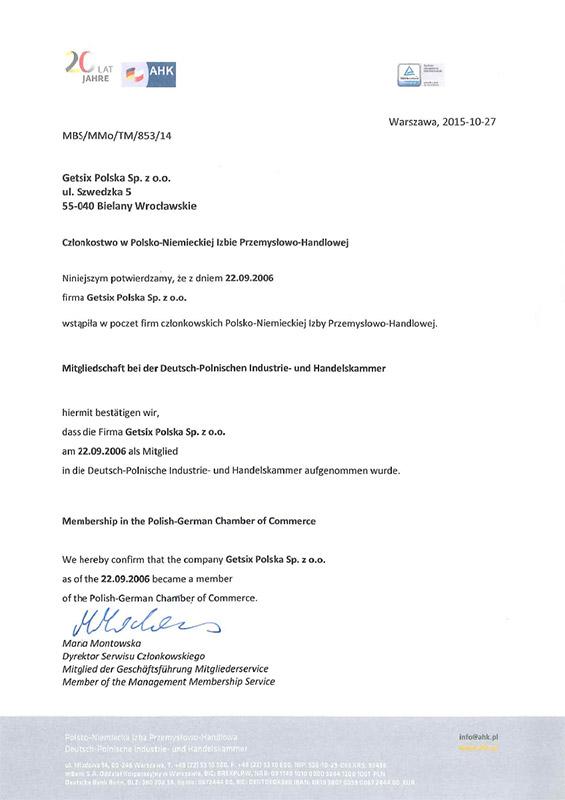 Zertifikat der Polnisch-Deutschen Industrie- und Handelskammermitgliedschaft