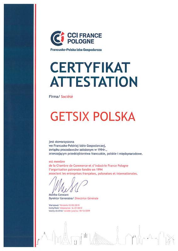 Zertifikat der Französisch-Polnische Handelskammer