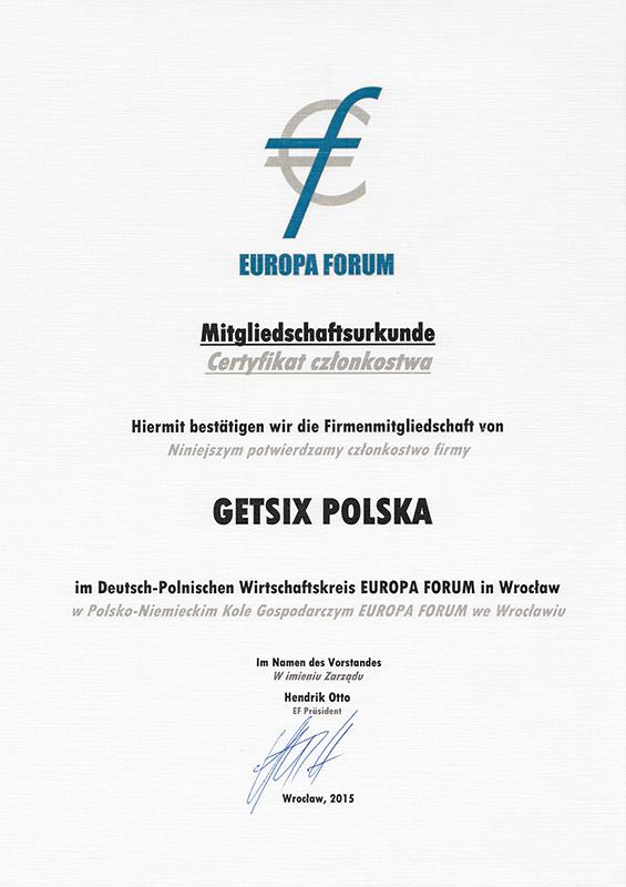 Zertifikat des Europa Forum e.V. Mitgliedschaft