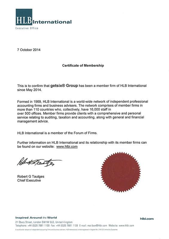 Zertifikat für HLB International