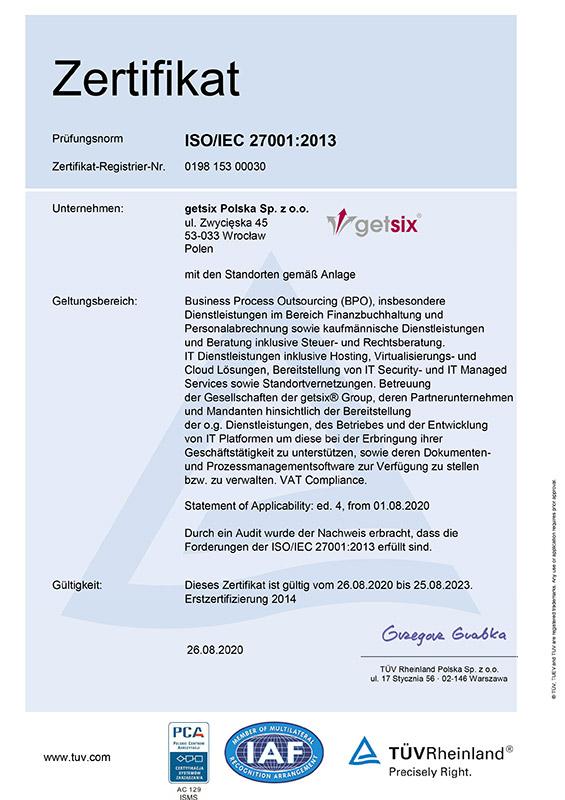 Zertifikat des TÜV Rheinland ISO/IEC 27001:2013