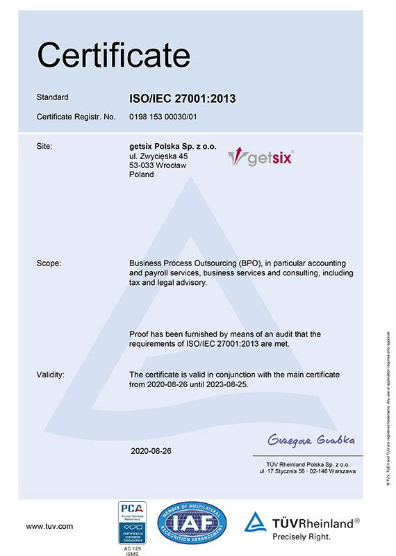 Certificate of TÜV Rheinland ISO/IEC 27001:2013