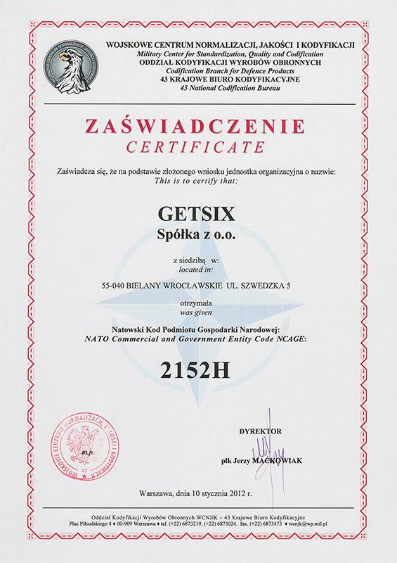 Zertifikat des Militärzentrums für Standardisierung, Qualitätssicherung und Kodifizierung