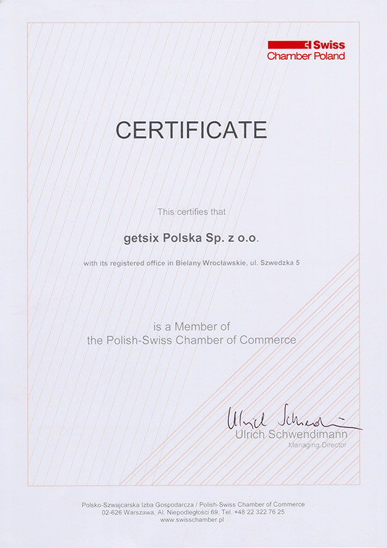 Zertifikat der Polnisch-Schweizerischen Handelskammermitgliedschaft