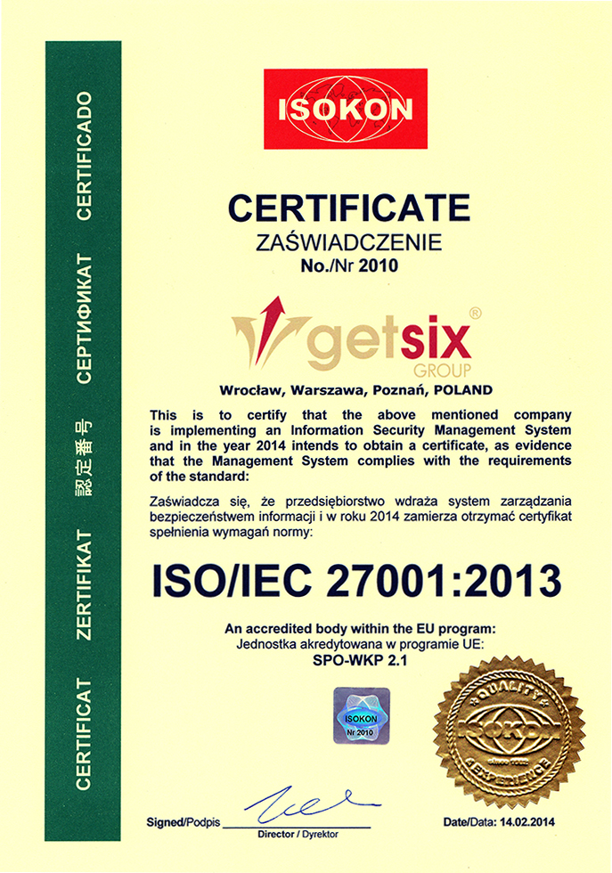 Getsix Currently Active Certification Process For Isoiec 27001