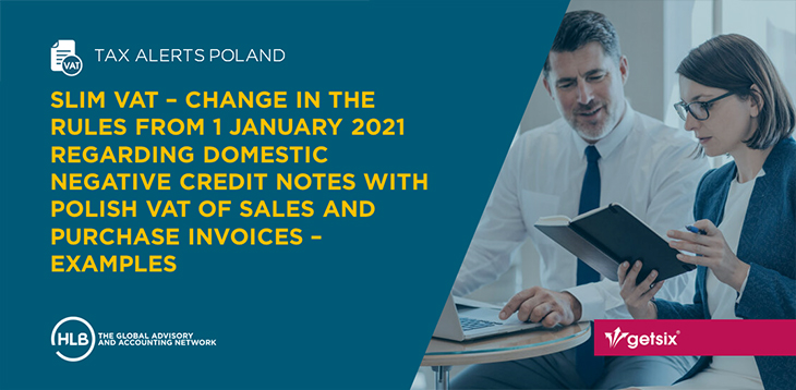 SLIM VAT – Change in the rules from 1 January 2021 regarding domestic negative credit notes with Polish VAT of sales and purchase invoices – Examples